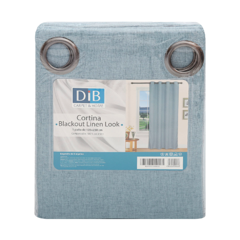 CORTINA BLACKOUT LINEN LOOK AZUL