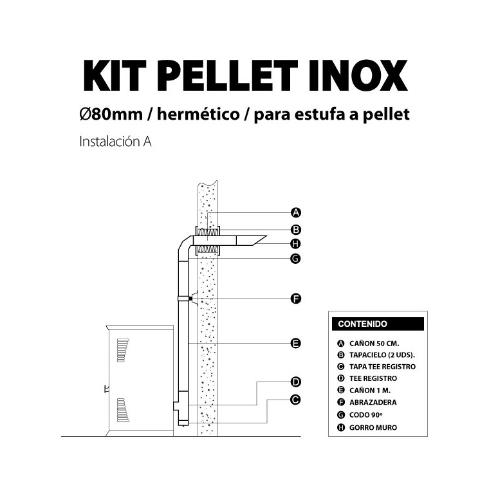 KIT INSTALACION PELLET INOX MURO